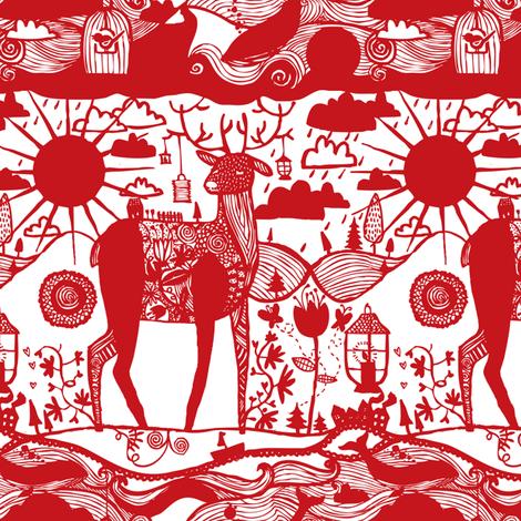 Deer fabric by laurawrightstudio on Spoonflower - custom fabric