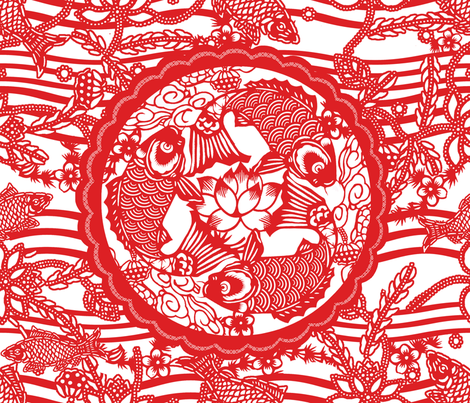 dance of the red carp fabric by chicca_besso on Spoonflower - custom fabric