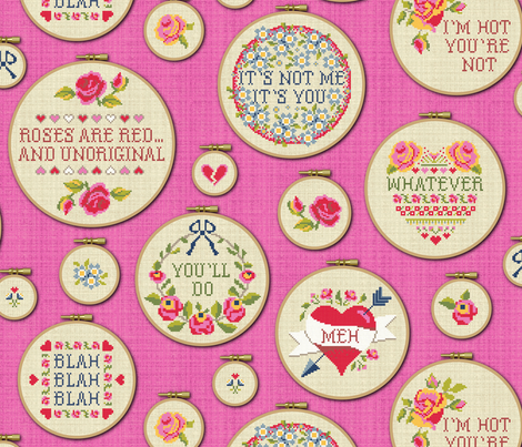 Jaded Valentine (embroidery hoops) fabric by cerigwen on Spoonflower - custom fabric