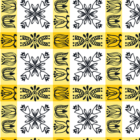 Dutch Check - yellow fabric by sara_smedley on Spoonflower - custom fabric