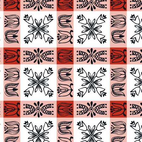 Dutch Check - red fabric by sara_smedley on Spoonflower - custom fabric