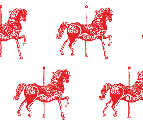 Chinese New Year Carousel Horse fabric by ashleycole on Spoonflower - custom fabric