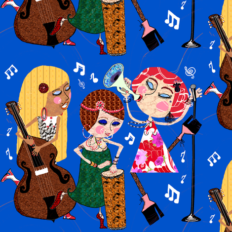 The Jazzy Jezebels, blue, large scale fabric by amy_g on Spoonflower - custom fabric