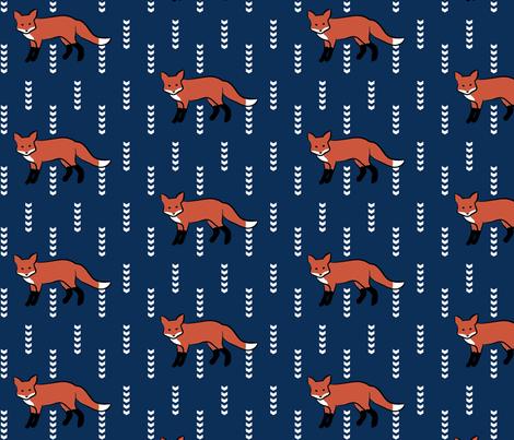 Navy Fox fabric by mrshervi on Spoonflower - custom fabric
