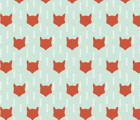 Mint Red Fox fabric by mrshervi on Spoonflower - custom fabric