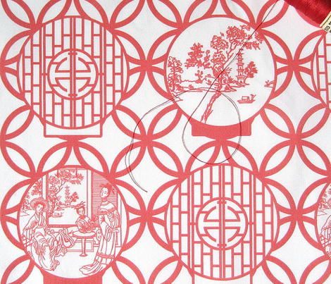 Chinoiserie Scenes through a red-based moon gate by Su_G_©SuSchaefer