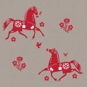 Year of the Horse Papercut Fabric