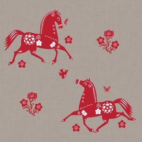 Year of the Horse Papercut Fabric