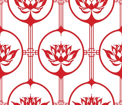 Cutting Paper - Lotus Red fabric by juliesfabrics on Spoonflower - custom fabric