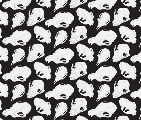 """Skulletal"" B+W fabric by samndrsn on Spoonflower - custom fabric"