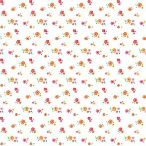 Watercolor Flower Clusters on White