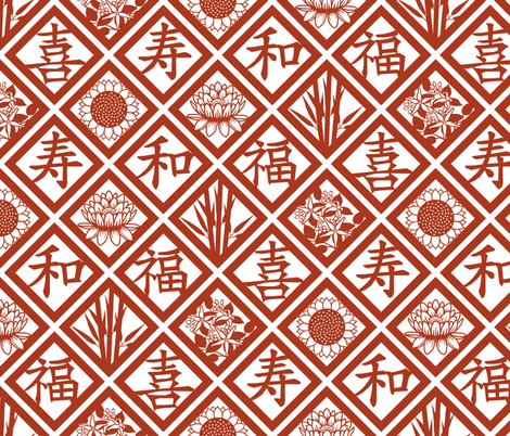 Many good wishes - Chinese cut paper fabric by victorialasher on Spoonflower - custom fabric