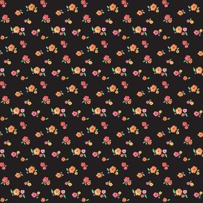 Watercolor Flower Clusters on Black