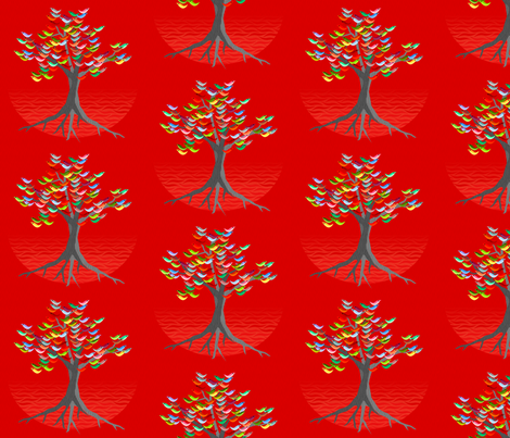 flock china red fabric by glimmericks on Spoonflower - custom fabric