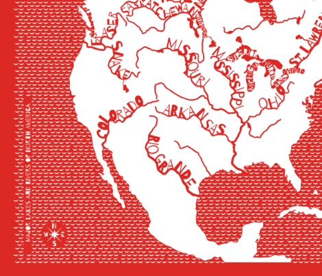 Major Lakes & Rivers of North America - red fabric by linkolisa on Spoonflower - custom fabric