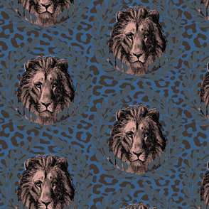 Lion on leopard light blue