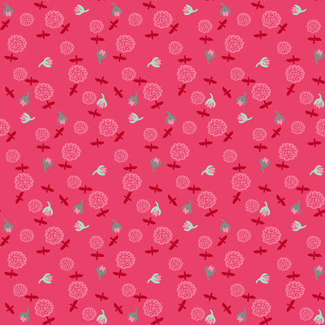 Minty Pink Floral fabric by graceful on Spoonflower - custom fabric