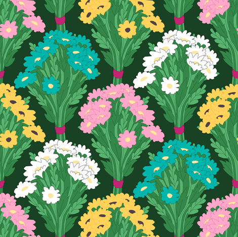 Spring Flowers Repeat fabric by pond_ripple on Spoonflower - custom fabric