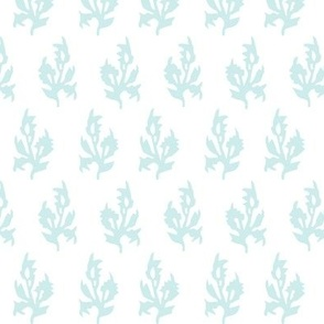 Maya block print in white/Duck egg blue
