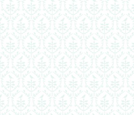 Bird damask in mint fabric by torie_jayne on Spoonflower - custom fabric