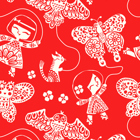 Butterfly Kites - red fabric by irrimiri on Spoonflower - custom fabric