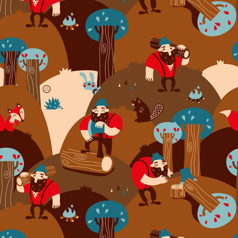 Lumber Jack baby fabric by verycherry on Spoonflower - custom fabric