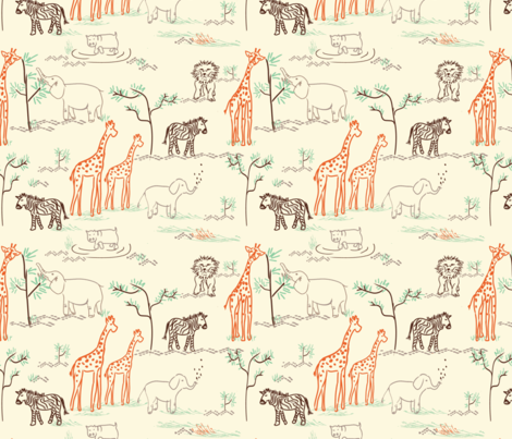 safari love ©2014 Jill Bull fabric by palmrowprints on Spoonflower - custom fabric