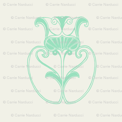 Large Flower in mint and white