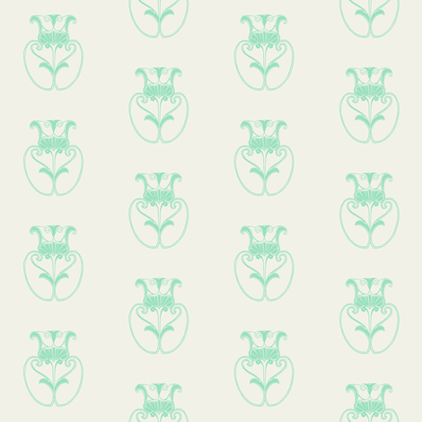Large Flower in mint and white fabric by carrie_narducci on Spoonflower - custom fabric