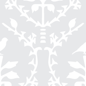 Bird Damask in Silver grey/White