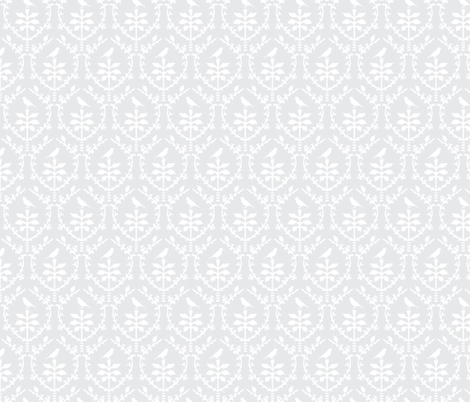 Bird Damask in Silver grey/White fabric by torie_jayne on Spoonflower - custom fabric