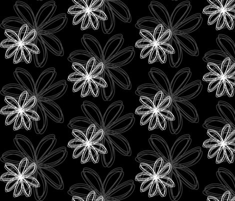 flower_burst_Black fabric by stickelberry on Spoonflower - custom fabric