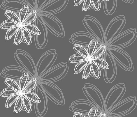 flower_burst_grey fabric by stickelberry on Spoonflower - custom fabric