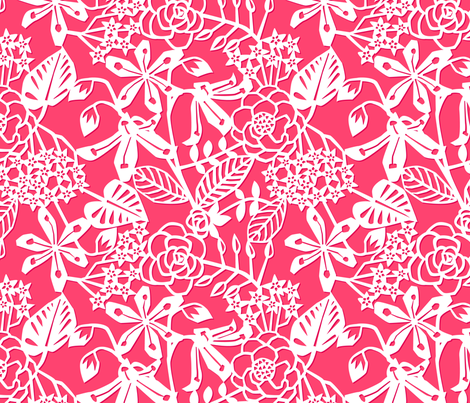PapercutFloralFinal_red fabric by daughter_earth on Spoonflower - custom fabric