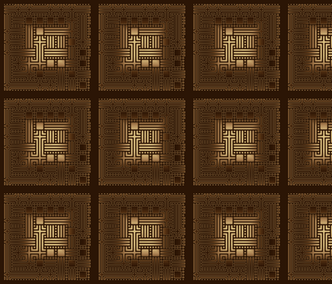Brown and Bronze Maze © Gingezel™ fabric by gingezel on Spoonflower - custom fabric