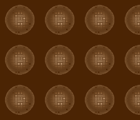 Bronze Maze Circles on Brown © Gingezel™ fabric by gingezel on Spoonflower - custom fabric