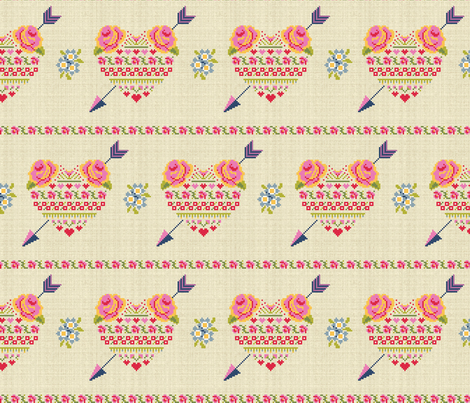 Hearts and Flowers fabric by cerigwen on Spoonflower - custom fabric