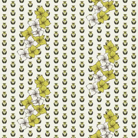 Dogwood Flowers in avocado fabric by carrie_narducci on Spoonflower - custom fabric