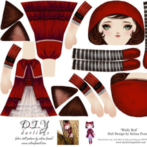 Cut and Sew Ragdoll Pattern Wolfy Red Riding Hood Doll by Selina Fenech