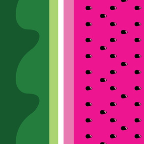 Bright Watermelon border print fabric - seedy edition