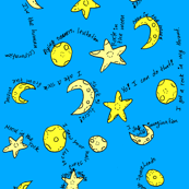 Moon Rocks Talking Heads Print Blue