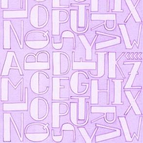 Alphabet in violet.