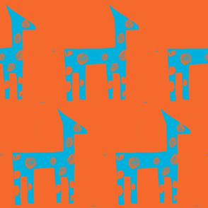 Turquoise Giraffe on Orange