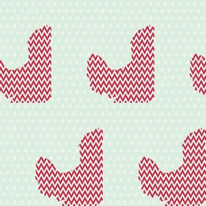 Rooster with mint chevron