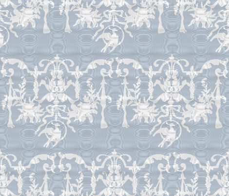 1892 Bird On a Wire Damask ~ Moire ~ Versailles Fog With White fabric by peacoquettedesigns on Spoonflower - custom fabric