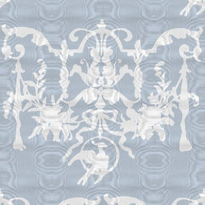 1892 Bird On a Wire Damask ~ Moire ~ Versailles Fog With White
