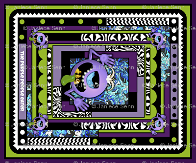 """The Purple People Eater 21"""" quilting block"""