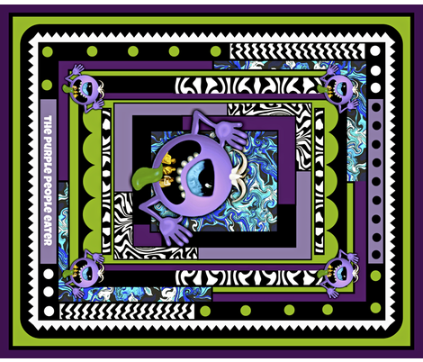 """The Purple People Eater 21"""" quilting block fabric by whimzwhirled on Spoonflower - custom fabric"""