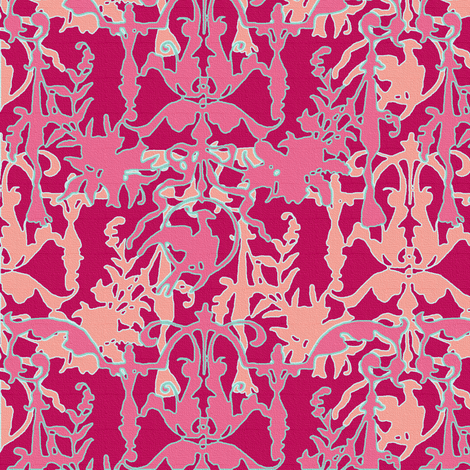 1892 Bird On a Wire Damask ~ Rose de Pompadour, Palazzo Sessa, Tuileries, Cupid and Duchess fabric by peacoquettedesigns on Spoonflower - custom fabric