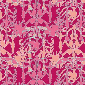 1892 Bird On a Wire Damask ~ Rose de Pompadour, Palazzo Sessa, Tuileries, Cupid and Duchess
